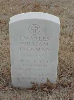 JACKMAN  (VETERAN WWI), CHARLES WILLIAM - Pulaski County, Arkansas | CHARLES WILLIAM JACKMAN  (VETERAN WWI) - Arkansas Gravestone Photos