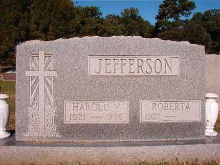 JEFFERSON, HAROLD V - Pulaski County, Arkansas | HAROLD V JEFFERSON - Arkansas Gravestone Photos