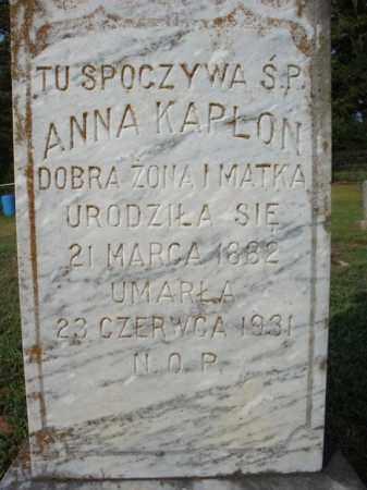 KAPLON, ANNA  (CLOSE UP) - Pulaski County, Arkansas | ANNA  (CLOSE UP) KAPLON - Arkansas Gravestone Photos