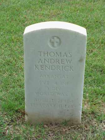 KENDRICK (VETERAN WWI), THOMAS ANDREW - Pulaski County, Arkansas | THOMAS ANDREW KENDRICK (VETERAN WWI) - Arkansas Gravestone Photos