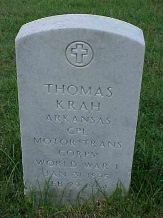 KRAH (VETERAN WWI), THOMAS - Pulaski County, Arkansas | THOMAS KRAH (VETERAN WWI) - Arkansas Gravestone Photos