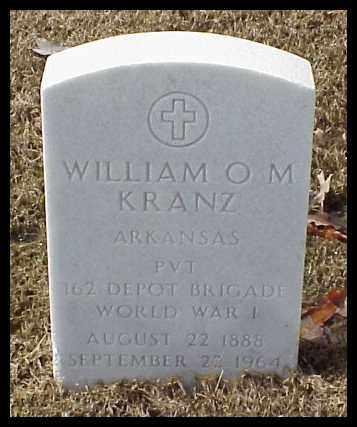 KRANZ (VETERAN WWI), WILLIAM O M - Pulaski County, Arkansas | WILLIAM O M KRANZ (VETERAN WWI) - Arkansas Gravestone Photos