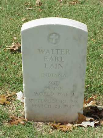 LAIN (VETERAN WWI), WALTER EARL - Pulaski County, Arkansas | WALTER EARL LAIN (VETERAN WWI) - Arkansas Gravestone Photos