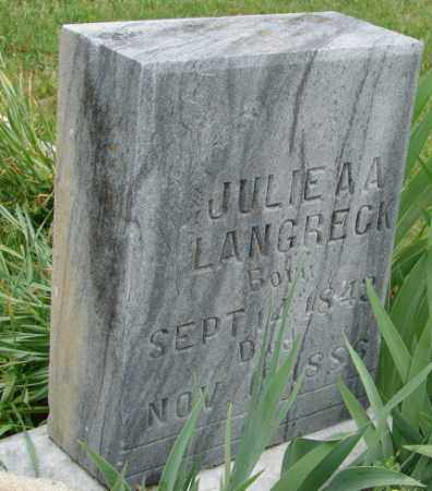 LANGRECK, JULIE A. A. - Pulaski County, Arkansas | JULIE A. A. LANGRECK - Arkansas Gravestone Photos