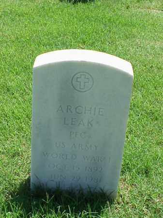 LEAK (VETERAN WWI), ARCHIE - Pulaski County, Arkansas | ARCHIE LEAK (VETERAN WWI) - Arkansas Gravestone Photos
