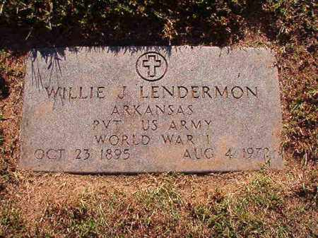 LENDERMON (VETERAN WWI), WILLIE J - Pulaski County, Arkansas | WILLIE J LENDERMON (VETERAN WWI) - Arkansas Gravestone Photos
