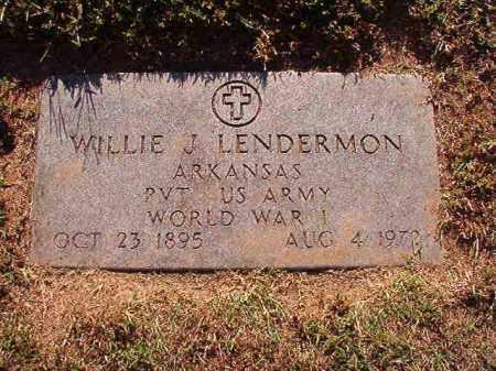 LENDERMON (VETERAN WWI), WILLIE J - Pulaski County, Arkansas | WILLIE J LENDERMON (VETERAN WWI) - Arkansas Gravestone Photos