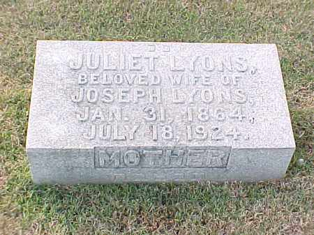 LYONS, JULIET - Pulaski County, Arkansas | JULIET LYONS - Arkansas Gravestone Photos