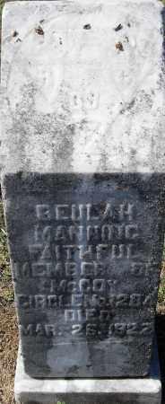 MANNING, BEULAH - Pulaski County, Arkansas | BEULAH MANNING - Arkansas Gravestone Photos