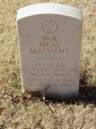 MATHENY (VETERAN WWI), IRA NEAL - Pulaski County, Arkansas | IRA NEAL MATHENY (VETERAN WWI) - Arkansas Gravestone Photos