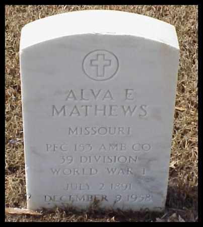 MATHEWS (VETERAN WWI), ALVA E - Pulaski County, Arkansas | ALVA E MATHEWS (VETERAN WWI) - Arkansas Gravestone Photos