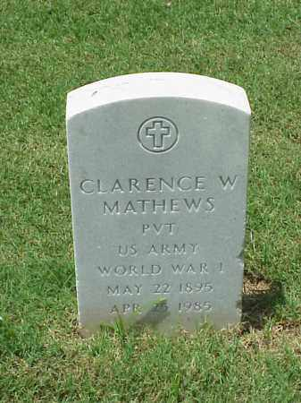 MATHEWS (VETERAN WWI), CLARENCE W - Pulaski County, Arkansas | CLARENCE W MATHEWS (VETERAN WWI) - Arkansas Gravestone Photos