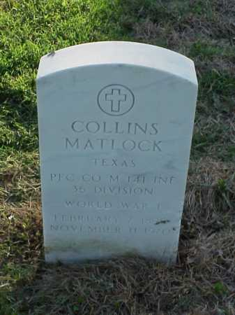 MATLOCK (VETERAN WWI), COLLINS - Pulaski County, Arkansas | COLLINS MATLOCK (VETERAN WWI) - Arkansas Gravestone Photos