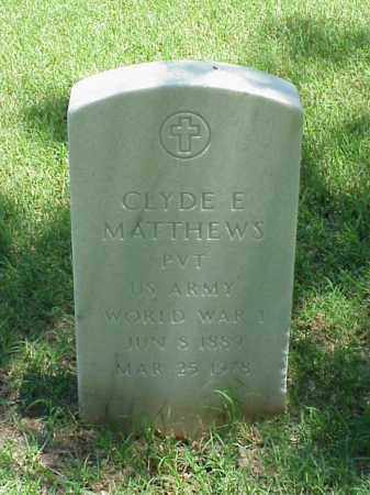 MATTHEWS (VETERAN WWI), CLYDE E - Pulaski County, Arkansas | CLYDE E MATTHEWS (VETERAN WWI) - Arkansas Gravestone Photos