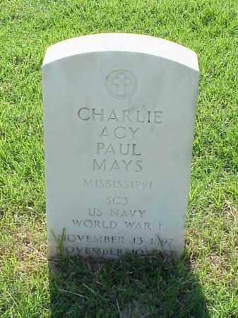 MAYS (VETERAN WWI), CHARLIE ACY PAUL - Pulaski County, Arkansas | CHARLIE ACY PAUL MAYS (VETERAN WWI) - Arkansas Gravestone Photos