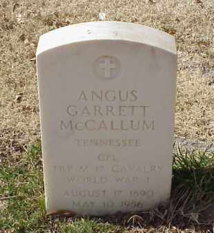 MCCALLUM (VETERAN WWI), ANGUS GARRETT - Pulaski County, Arkansas | ANGUS GARRETT MCCALLUM (VETERAN WWI) - Arkansas Gravestone Photos