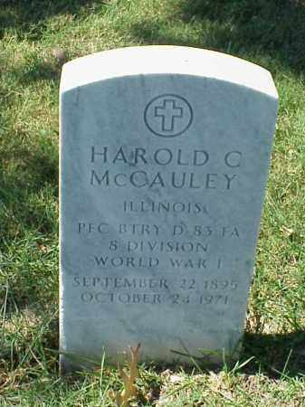 MCCAULEY (VETERAN WWI), HAROLD C - Pulaski County, Arkansas | HAROLD C MCCAULEY (VETERAN WWI) - Arkansas Gravestone Photos