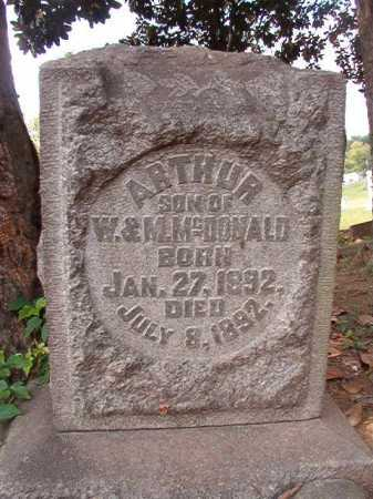 MCDONALD, ARTHUR - Pulaski County, Arkansas | ARTHUR MCDONALD - Arkansas Gravestone Photos