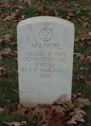 MCDONALD, MANDIE - Pulaski County, Arkansas | MANDIE MCDONALD - Arkansas Gravestone Photos