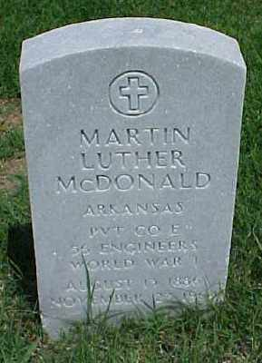 MCDONALD (VETERAN WWI), MARTIN LUTHER - Pulaski County, Arkansas | MARTIN LUTHER MCDONALD (VETERAN WWI) - Arkansas Gravestone Photos
