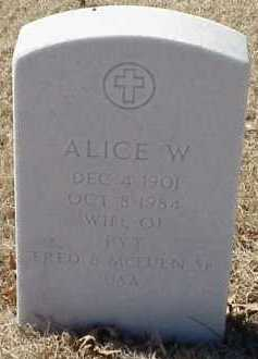 MCEUEN, ALICE W. - Pulaski County, Arkansas | ALICE W. MCEUEN - Arkansas Gravestone Photos