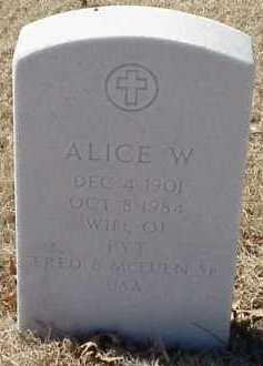 MCEUEN, ALICE W. - Pulaski County, Arkansas | ALICE W. MCEUEN - Arkansas Gravestone Photos