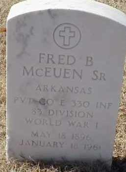 MCEUEN,SR (VETERAN WWI), FRED B - Pulaski County, Arkansas | FRED B MCEUEN,SR (VETERAN WWI) - Arkansas Gravestone Photos