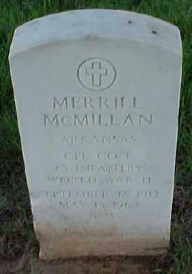 MCMILLAN (VETERAN WWII), MERRILL - Pulaski County, Arkansas | MERRILL MCMILLAN (VETERAN WWII) - Arkansas Gravestone Photos