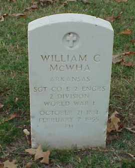 MCWHA (VETERAN WWI), WILLIAM C - Pulaski County, Arkansas | WILLIAM C MCWHA (VETERAN WWI) - Arkansas Gravestone Photos