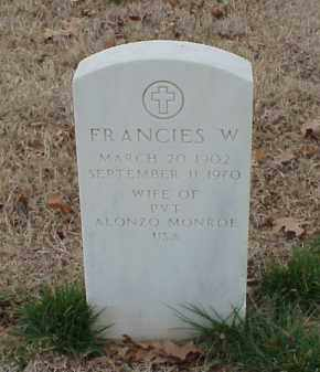 MONROE, FRANCIES W - Pulaski County, Arkansas | FRANCIES W MONROE - Arkansas Gravestone Photos