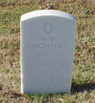 MONTUE (VETERAN WWII), W D - Pulaski County, Arkansas | W D MONTUE (VETERAN WWII) - Arkansas Gravestone Photos