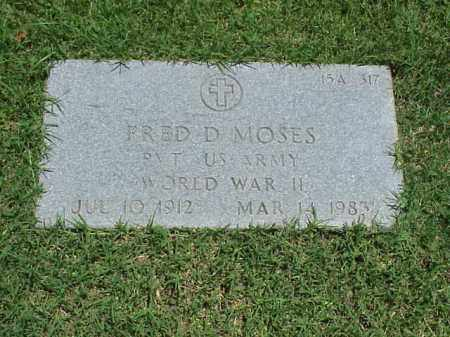 MOSES (VETERAN WWII), FRED D - Pulaski County, Arkansas | FRED D MOSES (VETERAN WWII) - Arkansas Gravestone Photos