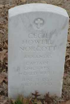 NORCOTT  (VETERAN WWI), CECIL HOWELL - Pulaski County, Arkansas | CECIL HOWELL NORCOTT  (VETERAN WWI) - Arkansas Gravestone Photos