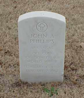 PHILLIPS  (VETERAN WWI), JOHN A - Pulaski County, Arkansas | JOHN A PHILLIPS  (VETERAN WWI) - Arkansas Gravestone Photos