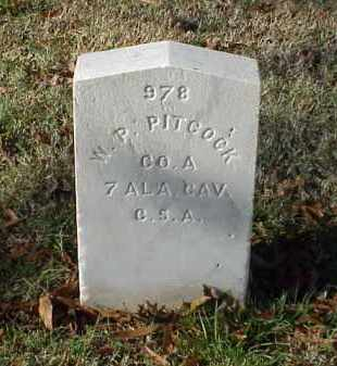PITCOCK (VETERAN CSA), W P - Pulaski County, Arkansas | W P PITCOCK (VETERAN CSA) - Arkansas Gravestone Photos