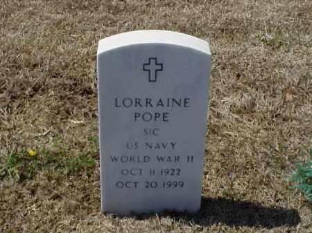 POPE (VETERAN WWII), LORRAINE - Pulaski County, Arkansas | LORRAINE POPE (VETERAN WWII) - Arkansas Gravestone Photos