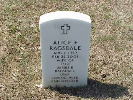 RAGSDALE, ALICE F - Pulaski County, Arkansas | ALICE F RAGSDALE - Arkansas Gravestone Photos