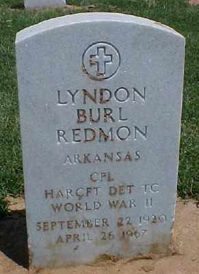 REDMON (VETERAN WWII), LYNDON BURL - Pulaski County, Arkansas | LYNDON BURL REDMON (VETERAN WWII) - Arkansas Gravestone Photos