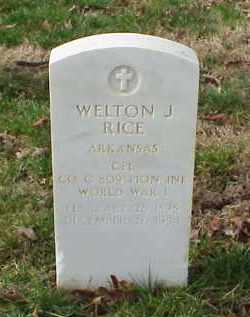 RICE (VETERAN WWI), WELTON J - Pulaski County, Arkansas | WELTON J RICE (VETERAN WWI) - Arkansas Gravestone Photos