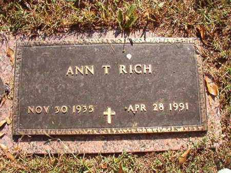 RICH, ANN T - Pulaski County, Arkansas | ANN T RICH - Arkansas Gravestone Photos