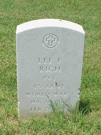 RICH (VETERAN WWI), LEE F - Pulaski County, Arkansas | LEE F RICH (VETERAN WWI) - Arkansas Gravestone Photos