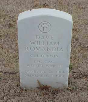 ROMANDIA  (VETERAN WWII), DAVE WILLIAM - Pulaski County, Arkansas | DAVE WILLIAM ROMANDIA  (VETERAN WWII) - Arkansas Gravestone Photos