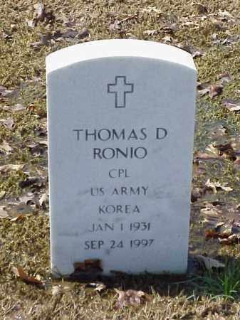 RONIO (VETERAN KOR), THOMAS D - Pulaski County, Arkansas | THOMAS D RONIO (VETERAN KOR) - Arkansas Gravestone Photos