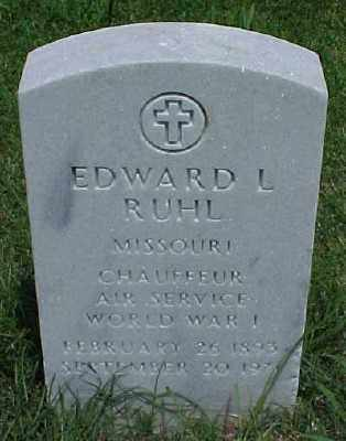 RUHL (VETERAN WWI), EDWARD L - Pulaski County, Arkansas | EDWARD L RUHL (VETERAN WWI) - Arkansas Gravestone Photos