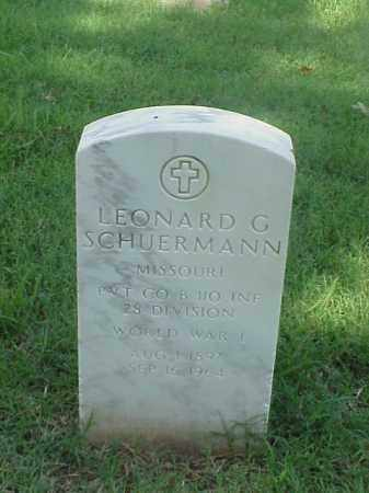 SCHUERMANN (VETERAN WWI), LEONARD G - Pulaski County, Arkansas | LEONARD G SCHUERMANN (VETERAN WWI) - Arkansas Gravestone Photos