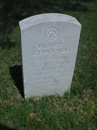 SCHWANDA (VETERAN WWI), HENRY - Pulaski County, Arkansas | HENRY SCHWANDA (VETERAN WWI) - Arkansas Gravestone Photos