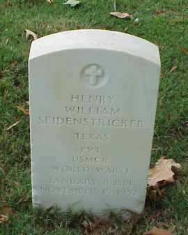 SEIDENSTRICKER (VETERAN WWI), HENRY WILLIAM - Pulaski County, Arkansas | HENRY WILLIAM SEIDENSTRICKER (VETERAN WWI) - Arkansas Gravestone Photos