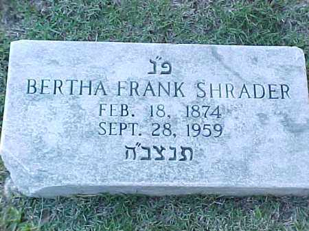 FRANK SHRADER, BERTHA - Pulaski County, Arkansas | BERTHA FRANK SHRADER - Arkansas Gravestone Photos