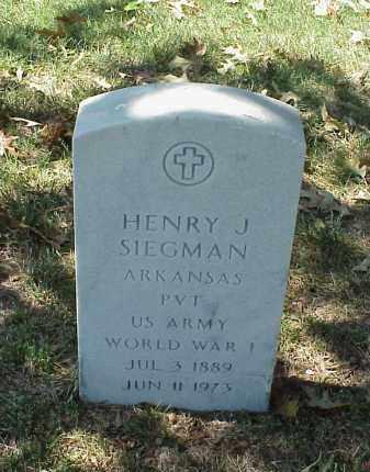 SIEGMAN (VETERAN WWI), HENRY J - Pulaski County, Arkansas | HENRY J SIEGMAN (VETERAN WWI) - Arkansas Gravestone Photos