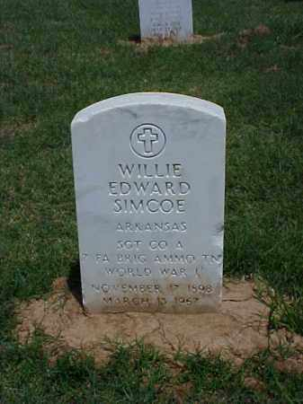 SIMCOE (VETERAN WWI), WILLIE EDWARD - Pulaski County, Arkansas | WILLIE EDWARD SIMCOE (VETERAN WWI) - Arkansas Gravestone Photos